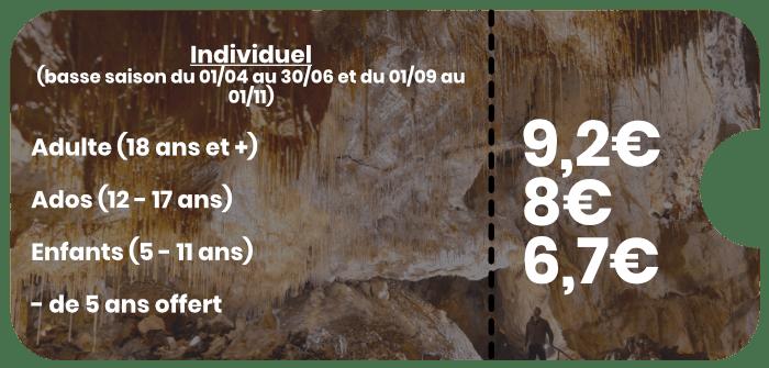 Individuel basse saison Grottes de Thouzon