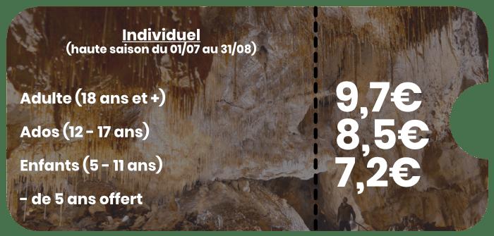 Individuel haute saison Grottes de Thouzon